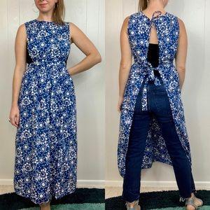 VINTAGE Long Apron Handmade Blue Floral Pattern